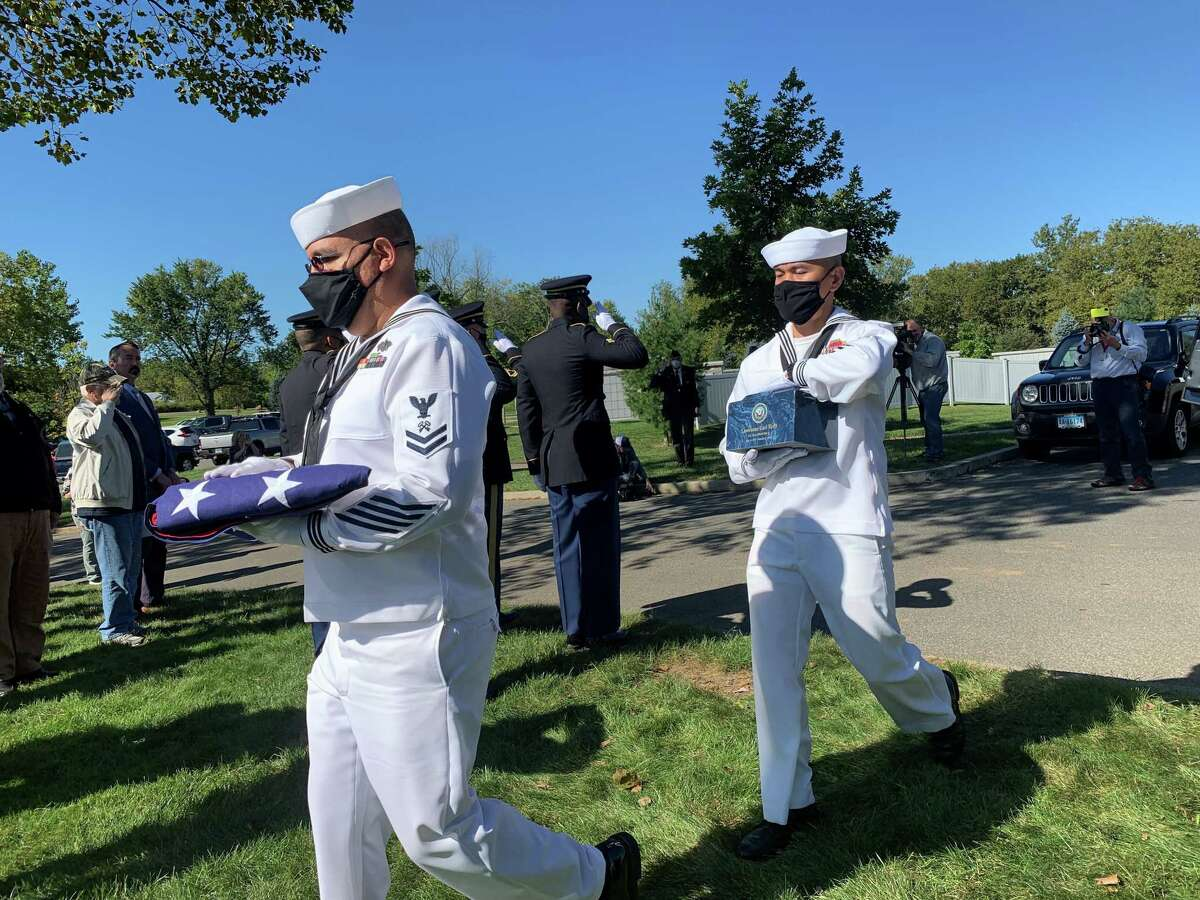 Eight Connecticut veterans, whose remains sat unclaimed, some for as long as several decades, were buried during a funeral ceremony at the State Veterans Cemetery in Middletown Friday.