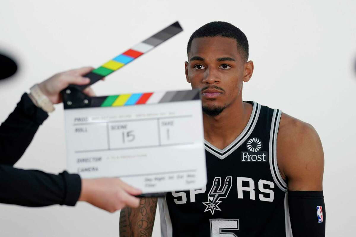 San Antonio Spurs guard Dejounte Murray takes part in the NBA basketball team's Media Day, Monday, Sept. 27, 2021, in San Antonio. (AP Photo/Eric Gay)