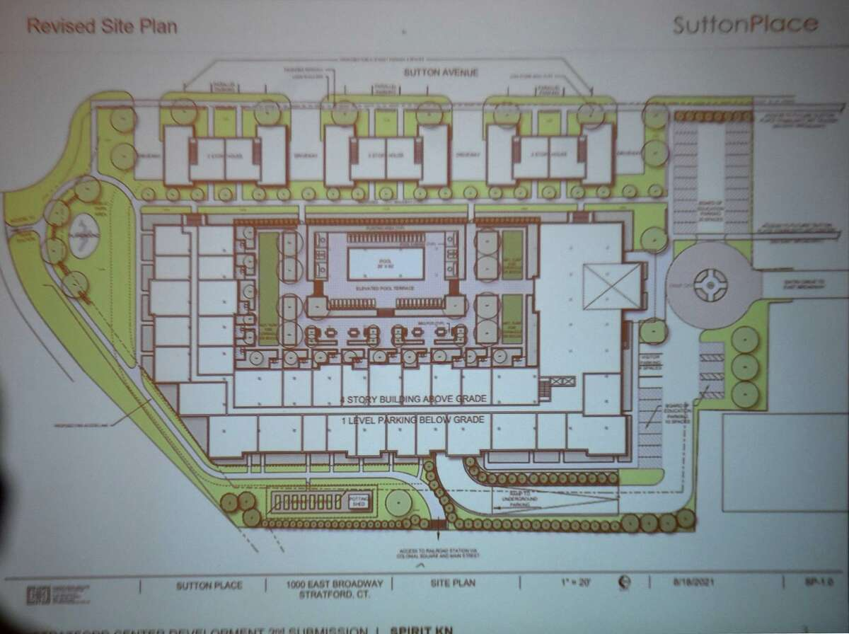 A file photo showing Spirit Investment Partners proposed plans for the Center School redevelopment at Town Hall in Stratford, Conn.