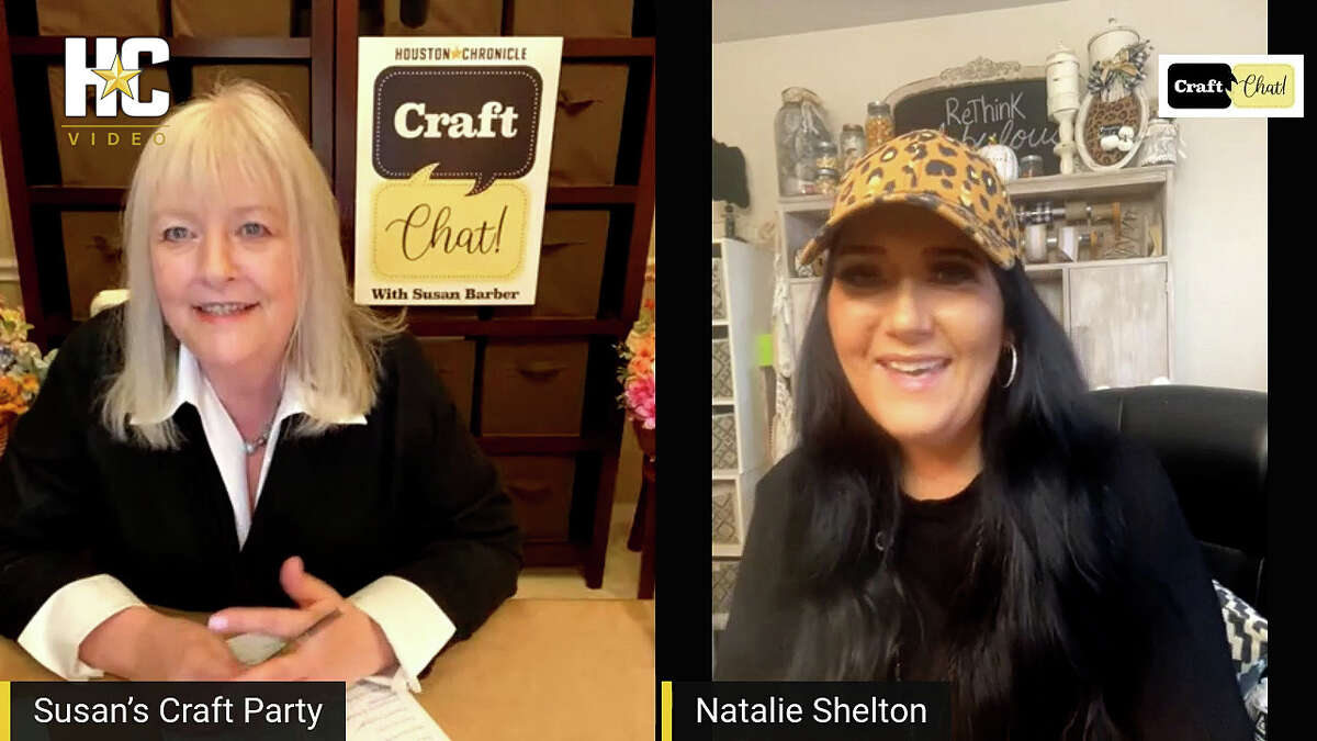Houston Chronicle creative director Susan Barber, left, as she interviews Natalie Shelton during a recent Facebook Live episode of Susan's Craft Party. Natalie is the creator at ReThink Fabulous and does a variety of DIYs using repurposed and everyday items. She has a unique way of looking at things.