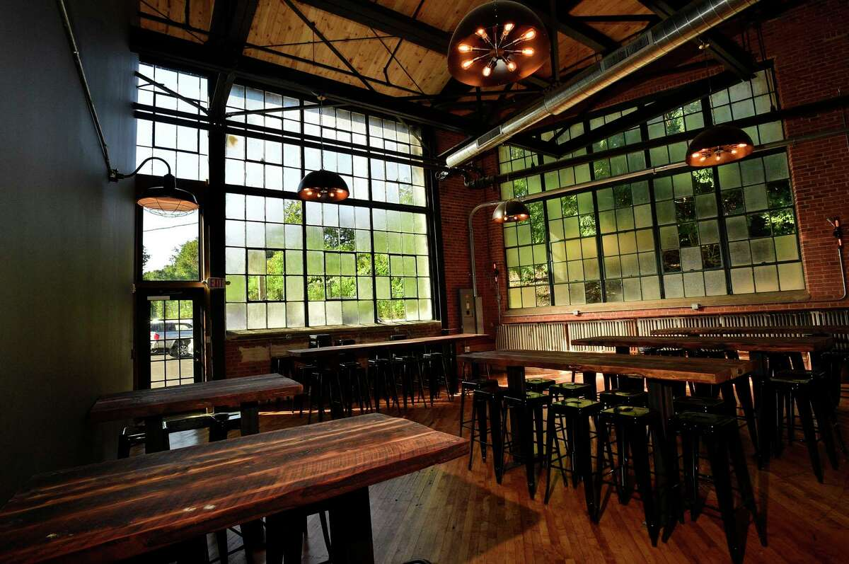 The new Spacecat Brewing interior Friday, October 1, 2021, in Norwalk, Conn. Spacecat Brewing opens Friday in the onetime textile mill on Chesnut Street.