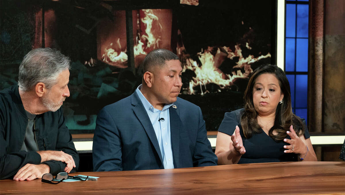 """Le Roy Torres, a Texas veteran in the center, was featured as a guest on the first episode of """"The Problem with Jon Stewart"""" on Sept. 30."""