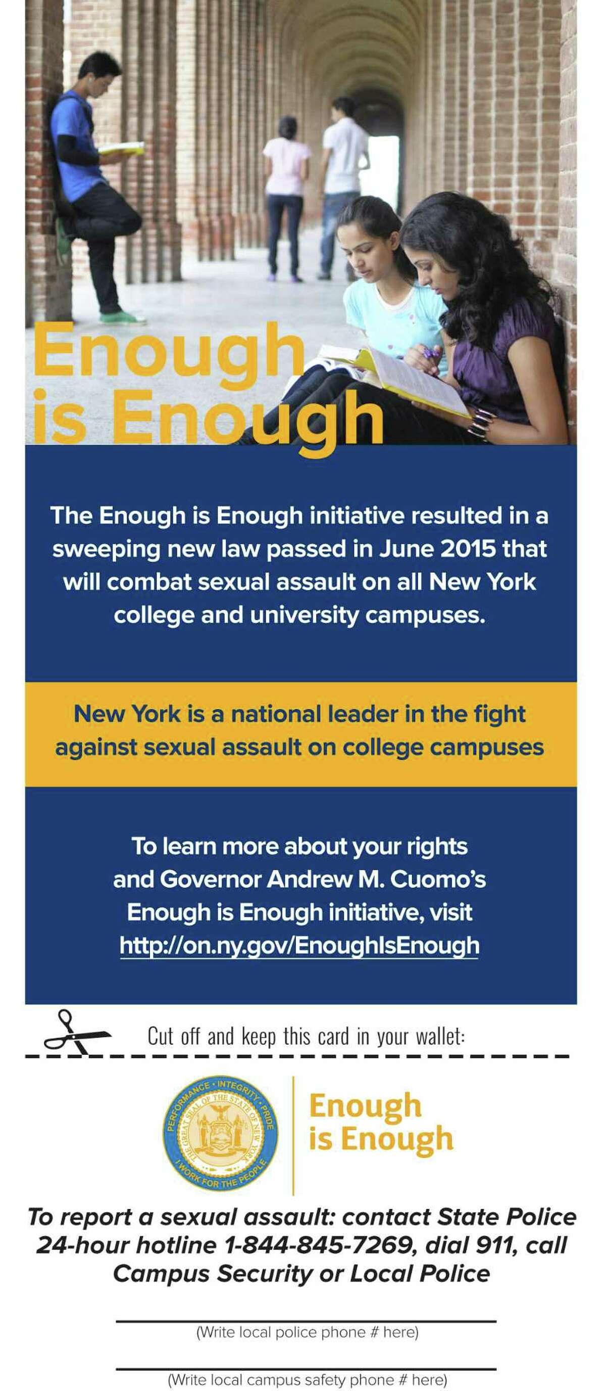 """Enough Is Enough"" campus assault awareness"