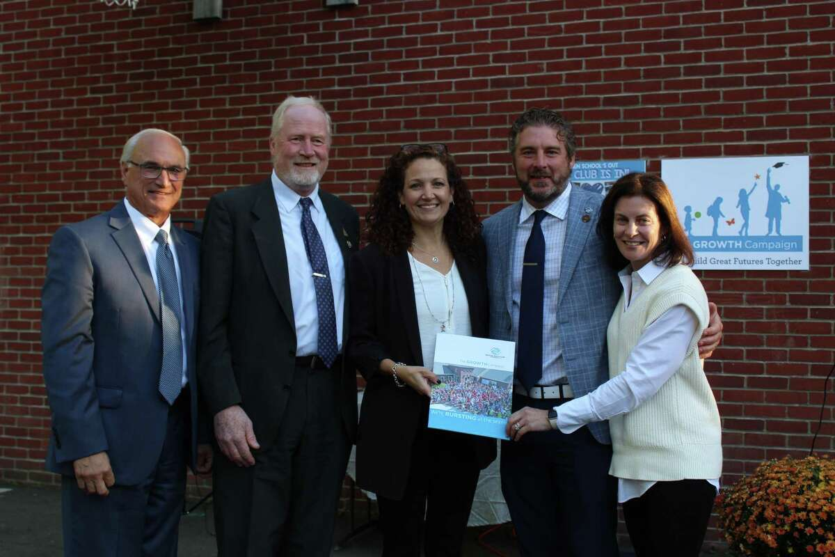 """From left: Ridgefield First Selectman Rudy Marconi, state Reps. Kenneth Gucker and Aimee Berger-Girvalo, Boys & Girls Club of Ridgefield CEO Mike Flynn and General Chair Christine Carnicelli attend the public announcement of """"The Growth Campaign"""" on Sept. 30. The initiative was established several years ago to identify solutions to address the club's growing demand."""