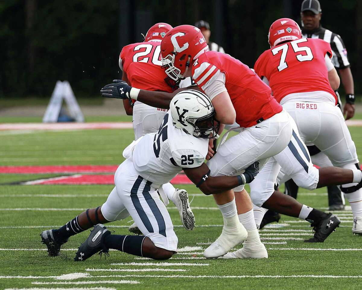 Yale's Micah Awodiran makes a tackle against Cornell on Sept. 25 in New Haven.