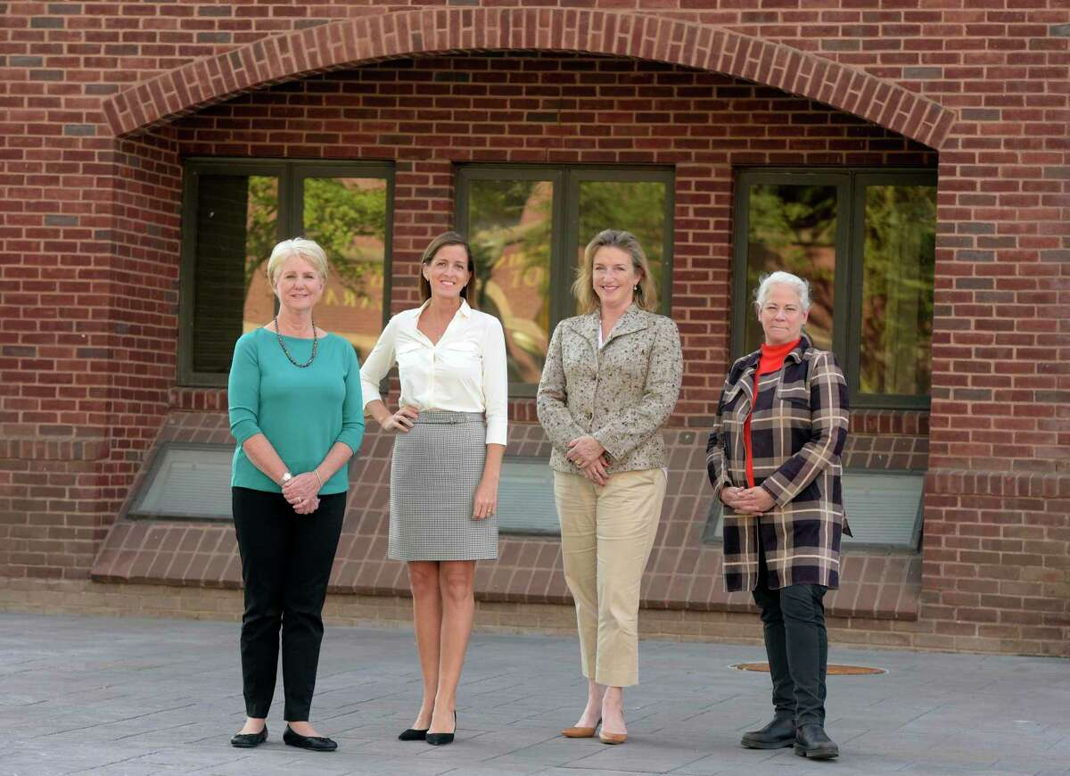There are just four women across 12 towns in the Danbury area running for Mayor/First Selectwoman. From left to right; Pat Del Monaco, incumbent Democrat of New Fairfield, Tara Carr, Republican running in Brookfield, Julia Pemberton, incumbent Democrat of Redding, and Jean Speck, incumbent Democrat of Kent. Friday, October 1, 2021, Danbury, Conn.