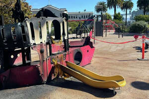 Firefighters extinguished a fire at the playground at Sue Bierman Park last night.