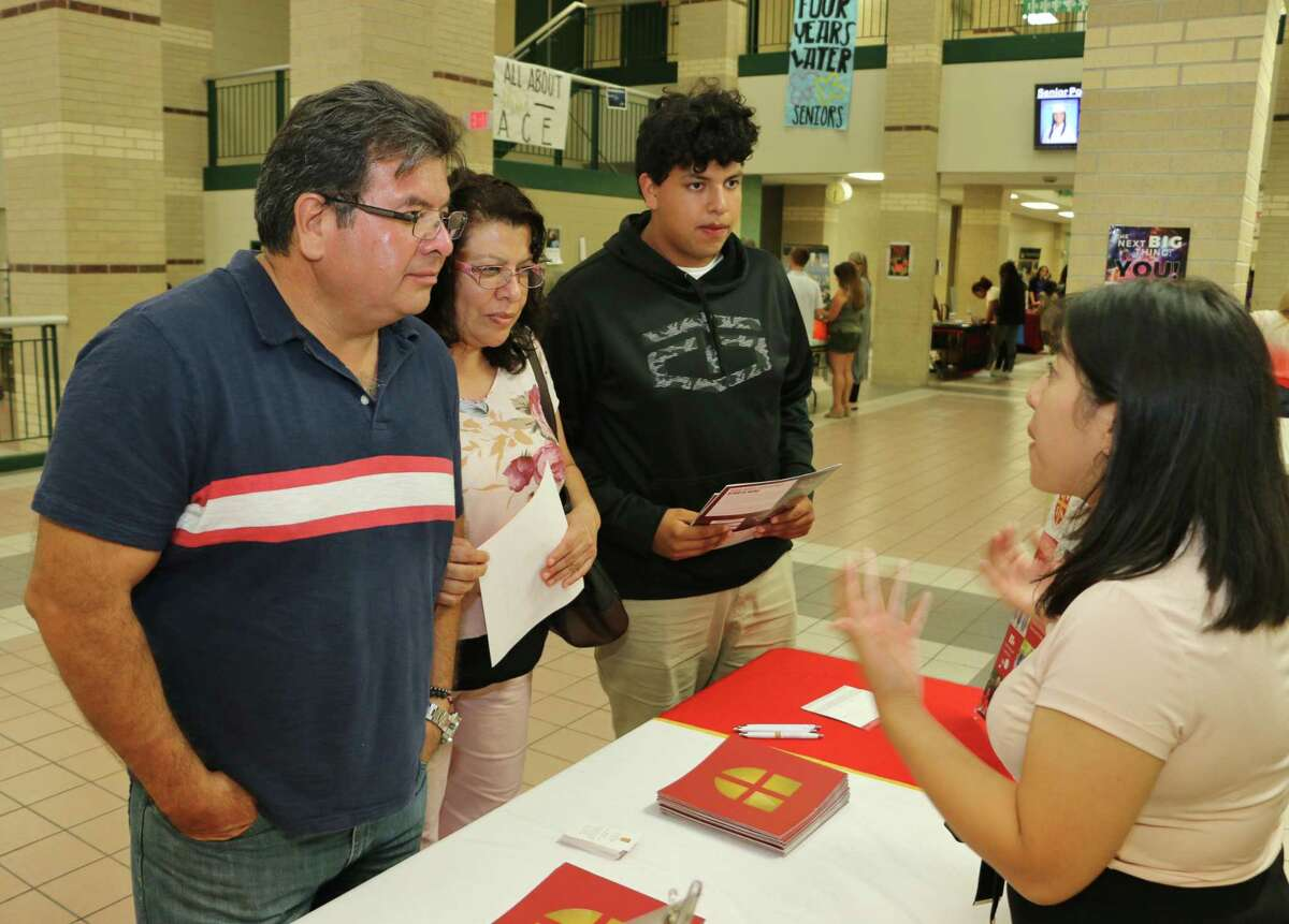 Lamar CISD plans to host its College, Career and Military Night for all district students in seventh through 12th grades on Monday, Oct. 4, at Foster High School in Richmond. Here, a family hears about options at the last in-person event in 2019.