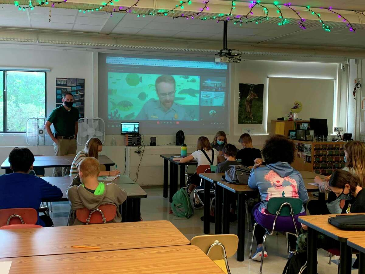Frankfort-Elberta Area Schools' seventh grade class took an online Junior Ranger Angler Program on Sept. 27 as part of the Salmon in the Classroom program. (Courtesy Photo)