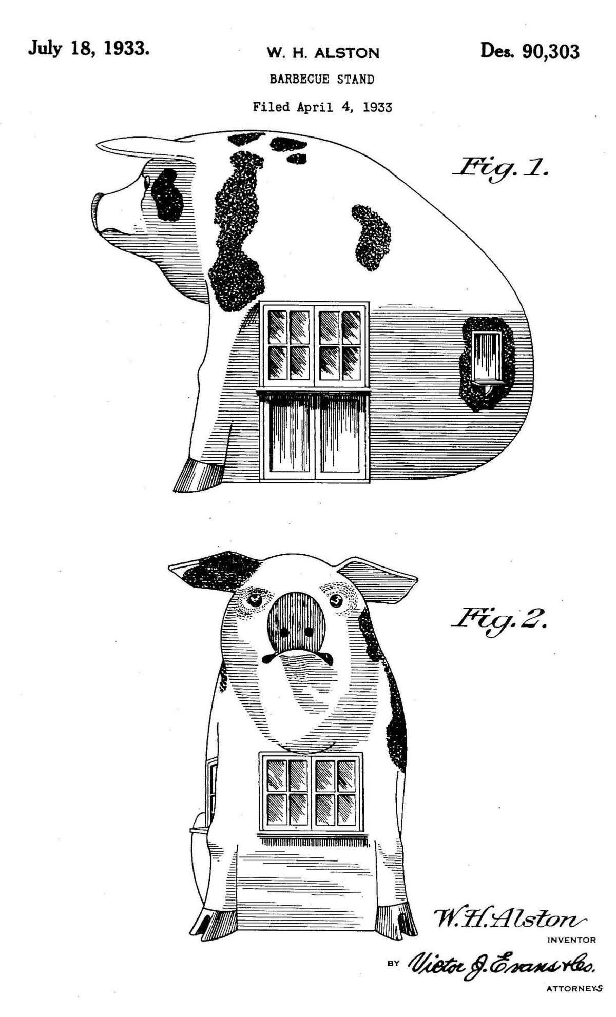 Illustrations of a pig-shaped barbecue stand from a 1933 patent application by William H. Alston of San Antonio. A similar structure at the old Pig Stand location in Southtown was reportedly built in 1935.