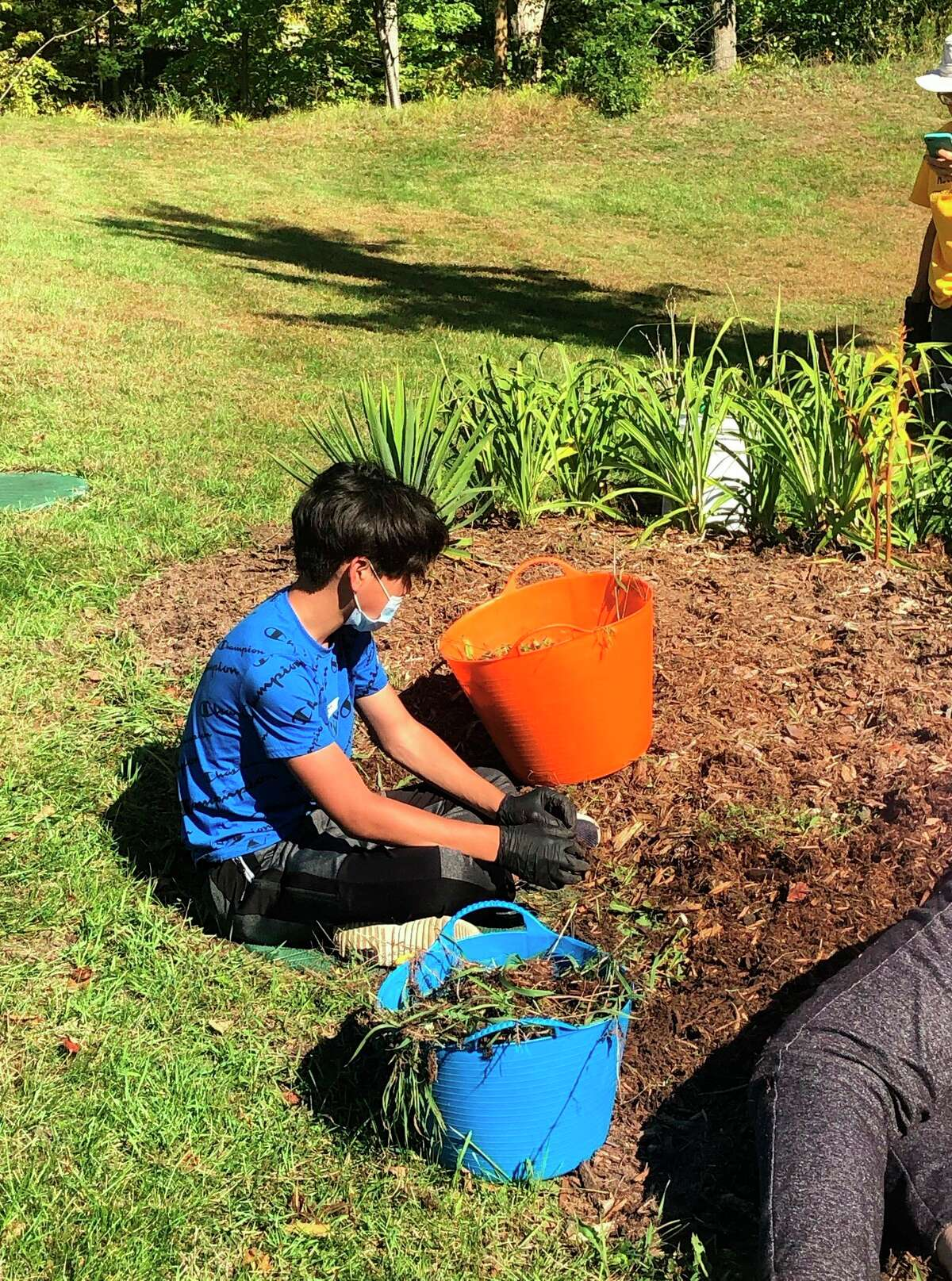 A 7th Grade Student from Benzie Central Schools helps clean out a flower bed in Benzonia as part of Service Above Self Day. (Courtesy Photo/Steven Stephens)