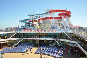 The Lido Deck with pools and dining venues aboard Carnival Panorama