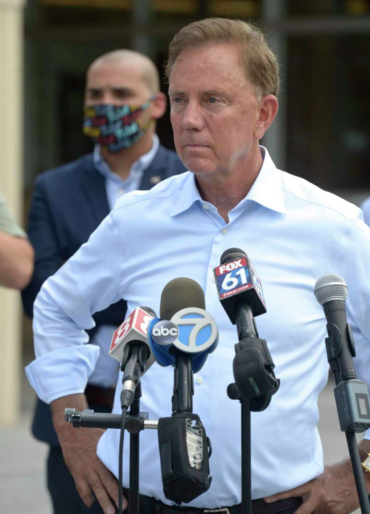 Governor Ned Lamont speaks at a press conference at Danbury High School. Lamont came to the city to survey damage from tropical storm Isaias. Friday, August 7, 2020, in Danbury, Conn.