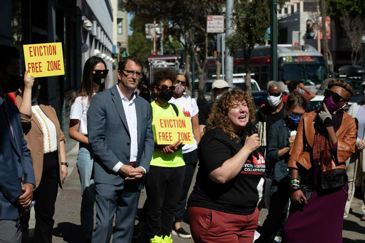 Martina Cucullu Lim, executive director of the Eviction Defense Collaborative, speaks at an event in the Fillmore to prevent evictions in San Francisco.