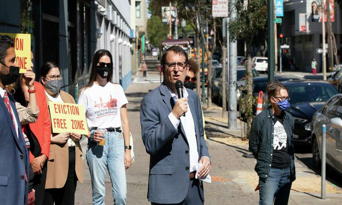 San Francisco Supervisor Dean Preston speaks at an event in the Fillmore to prevent evictions in his district.