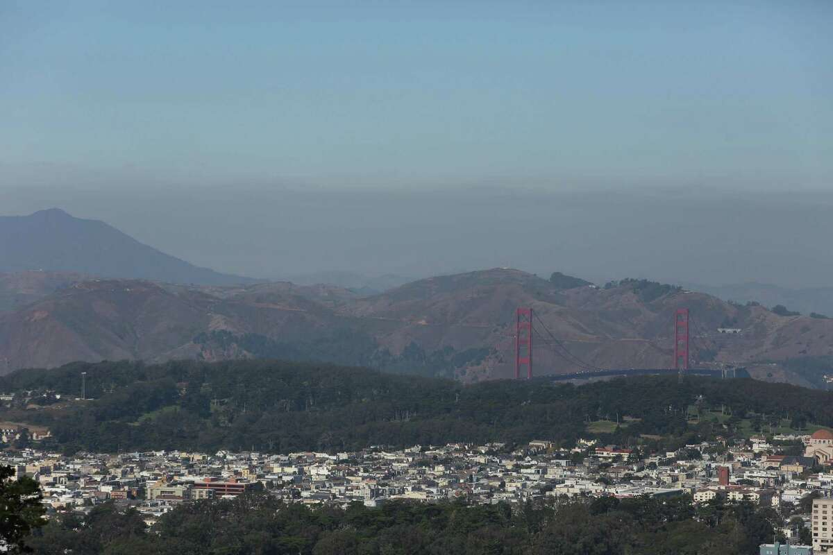 This file photograph shows a layer of haze over the North Bay, beyond the Golden Gate Bridge on Monday, October 28, 2019 in San Francisco, Calif.