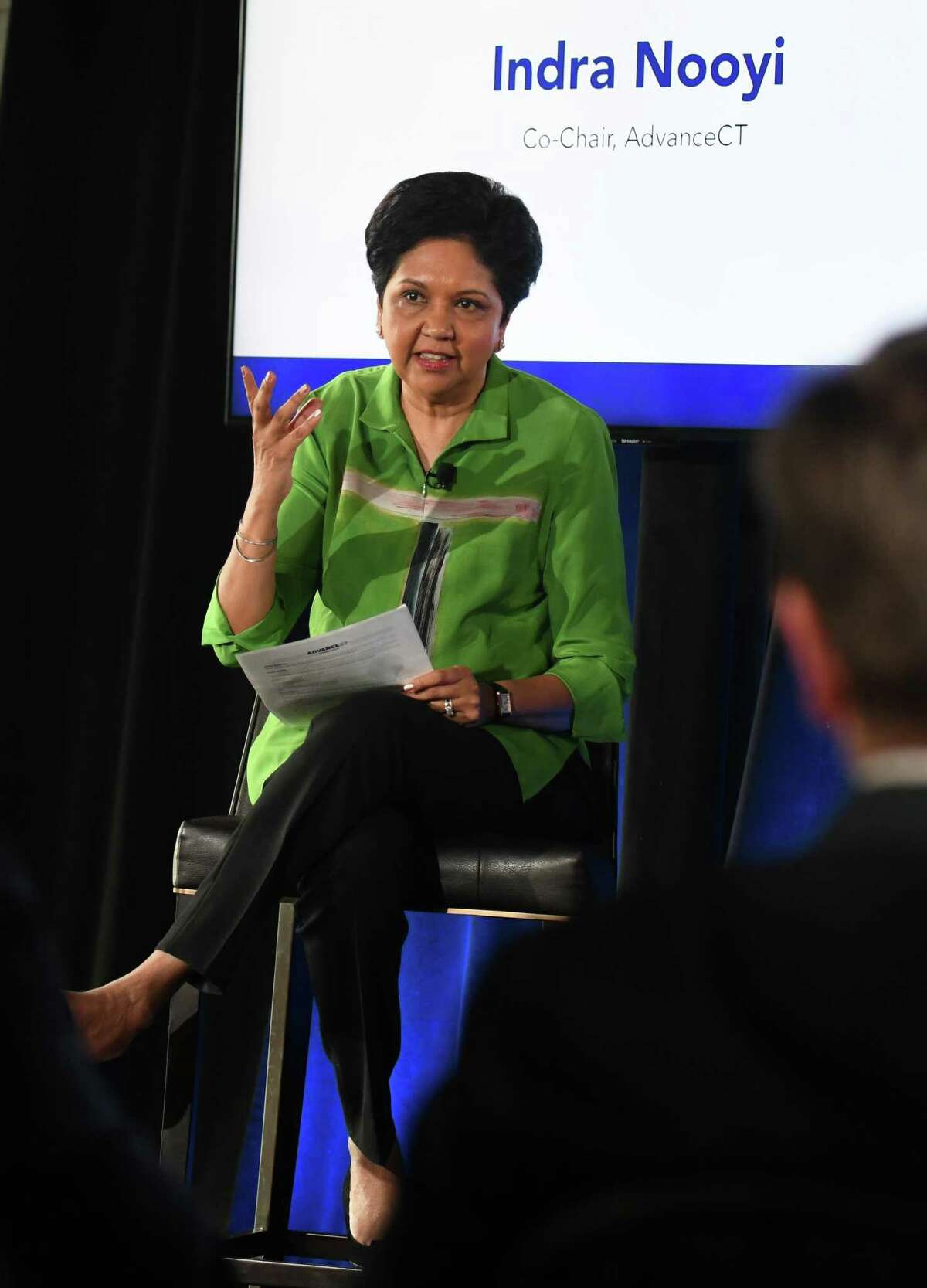 In her role as AdvanceCT co-chairwoman, Indra Nooyi discusses Phillip Morris International's plan to move its company headquarters to Connecticut during an event at The Village in Stamford, Conn., on June 22, 2021.