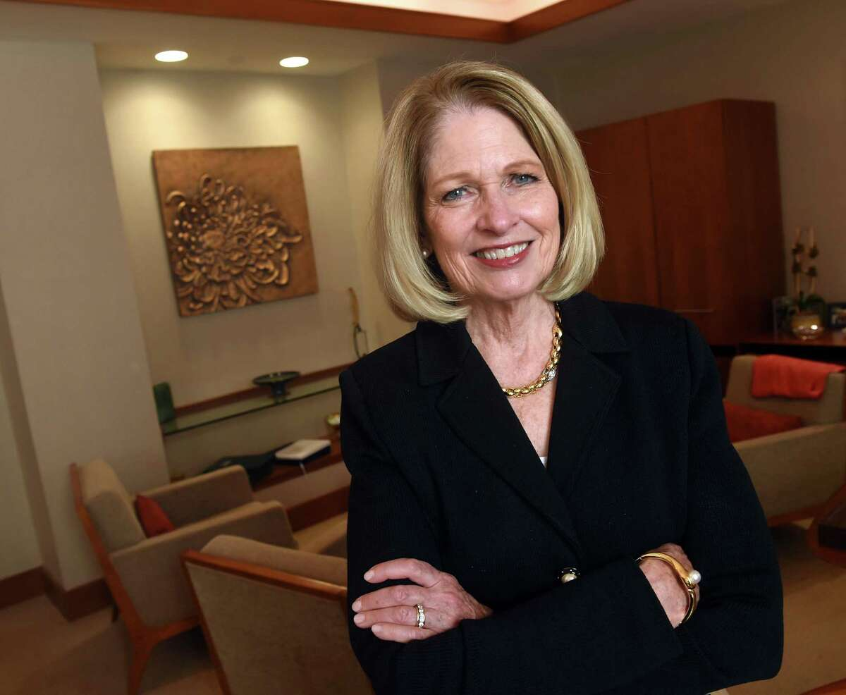 Yale New Haven Health System President and CEO Marna Borgstrom in her office at Yale New Haven Hospital in New Haven on Sept. 29, 2021.