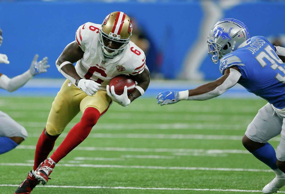 San Francisco 49ers wide receiver Mohamed Sanu carries the ball against the Detroit Lions in the second half of an NFL football game in Detroit, Sunday, Sept. 12, 2021. (AP Photo/Duane Burleson)