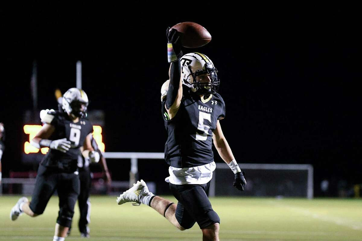 Trumbull high's Corbin Smith scores his second touchdown of the night against Shelton High Friday night.