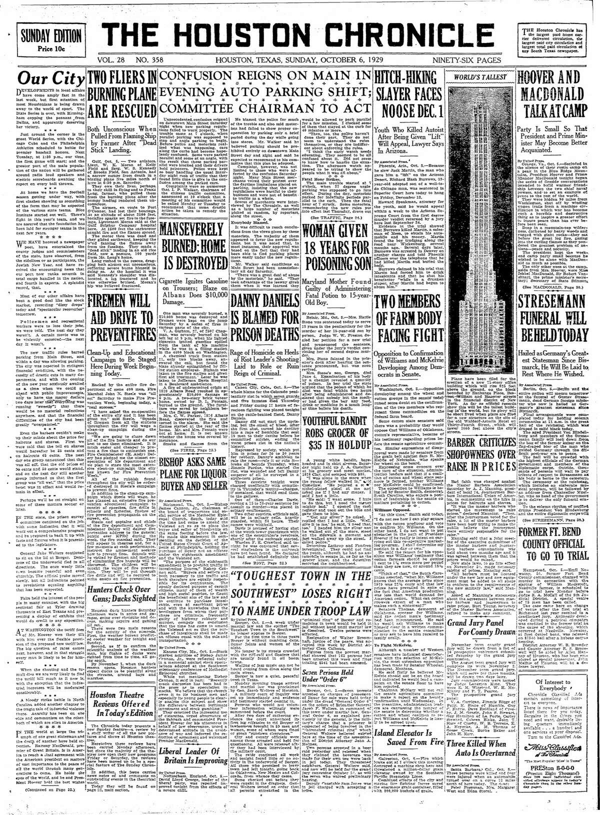Houston Chronicle front page from Oct. 6 1929.