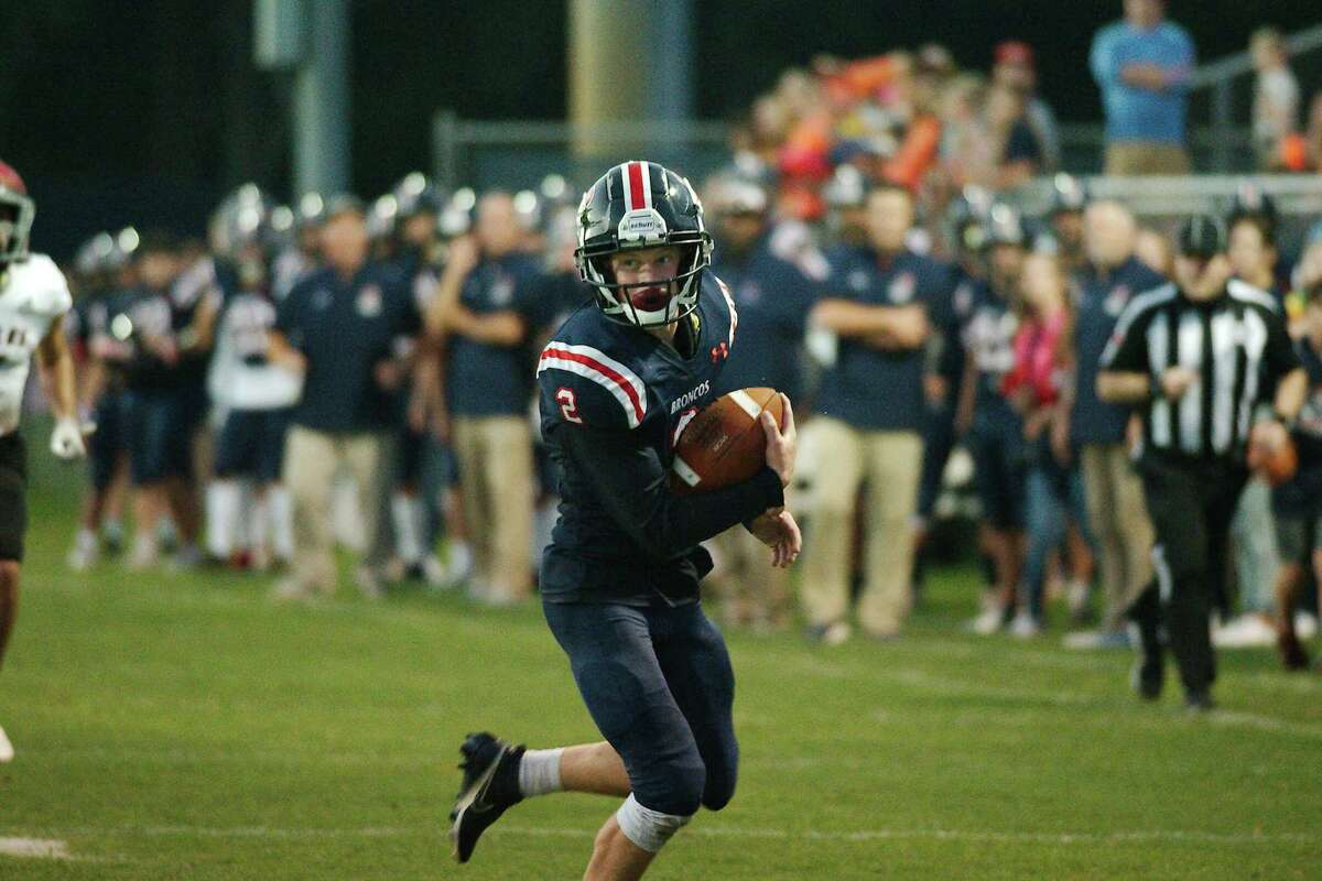 Bay Area Christian's Smith Nave (2) helped lead the Broncos to a 32-22 win over Deweyville Friday night in Deweyville.