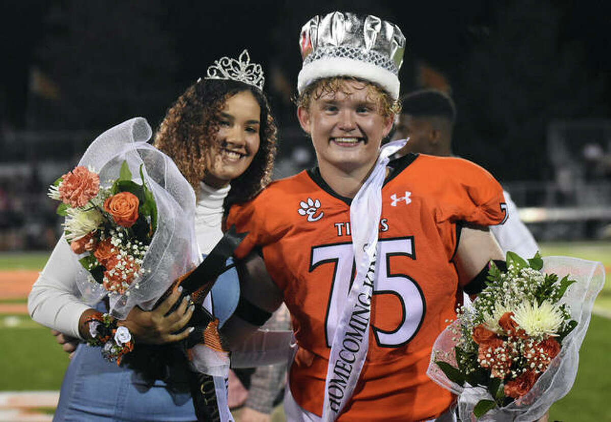Edwardsville High School seniors Sydney Harris, left, and Cliff Seaman were named the Homecoming Queen and King on Friday at halftime of the EHS-Alton football game inside the District 7 Sports Complex.