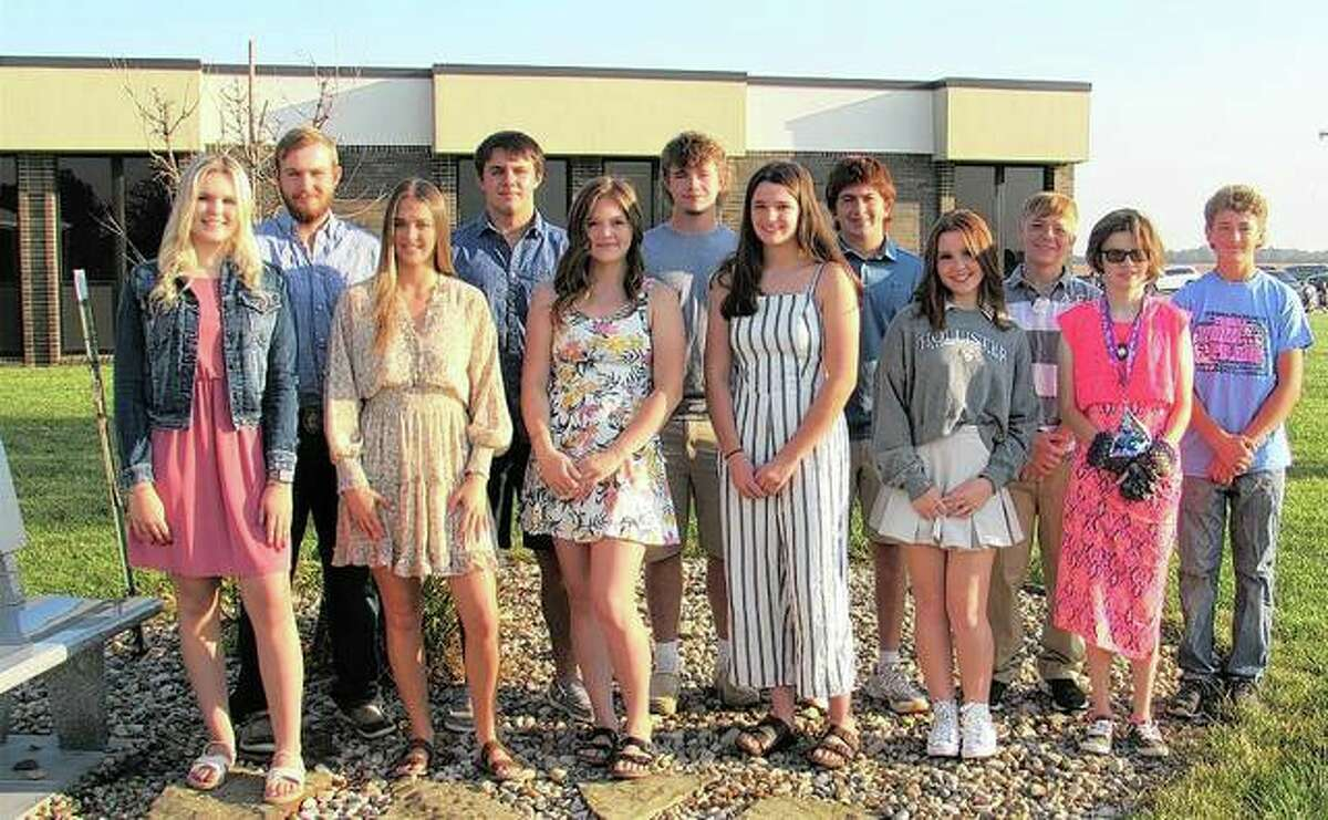 The entire homecoming court for Triopia High School includes Kyleigh Sheehan, Lance Bogner, Emma Milby, Caden Moore, Alizza Gaines, Ty Malcomson, Ellie Vinyard, Brandon Bottens, Natalie Looker, Joseph Lacy, Taylor Miller and Carter Lakamp.