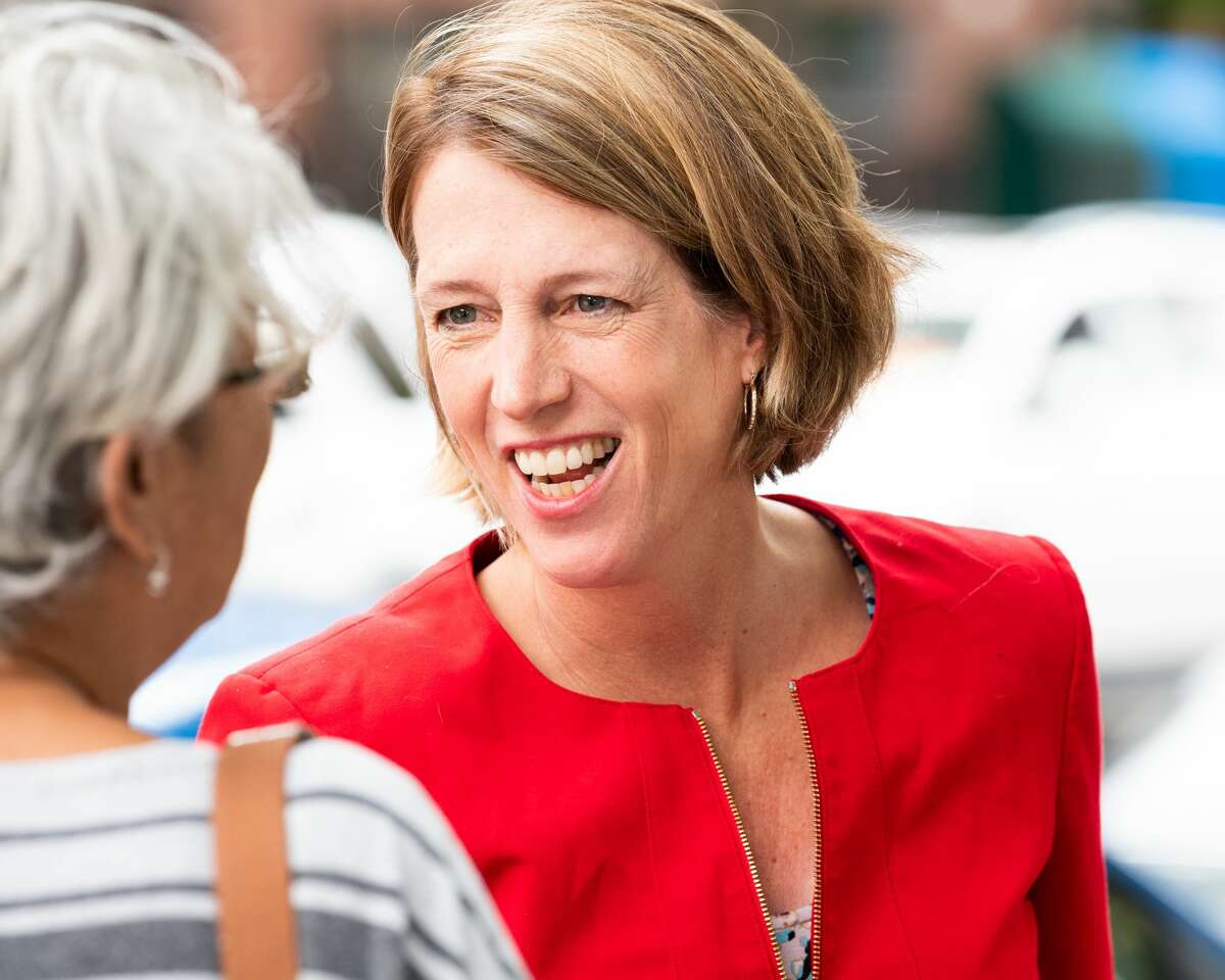 Zephyr Teachout seen talking to a woman during her 2018 campaign.