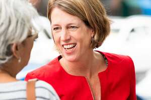 NEW YORK, NY, UNITED STATES - 2018/09/13: Zephyr Teachout seen talking to a woman during her campaign. Zephyr Teachout campaigning for the Democratic Party nomination for Attorney General of New York State on Primary Day near the West Side High School located on the Upper West Side of New York City. (Photo by Michael Brochstein/SOPA Images/LightRocket via Getty Images)