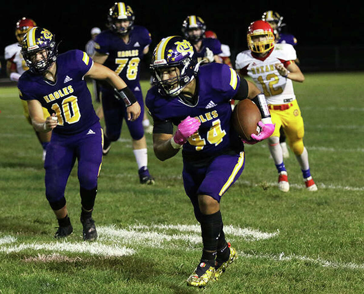 CM running back Miguel Gonzalez (44) returned the second-half kickoff 86 yards for a touchdown Friday against Highland, but the Eagles dropped a 34-14 Mississippi Valley conference decision at Hauser Field in Bethalto. Gonzalez is shown in action against Roxana earlier this season.