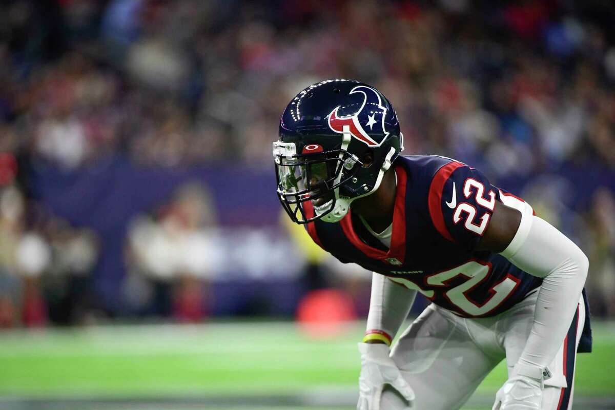 Houston Texans defensive back Jimmy Moreland (22) lines up against the Carolina Panthers during the first half of an NFL football game Thursday, Sept. 23, 2021, in Houston. (AP Photo/Justin Rex)