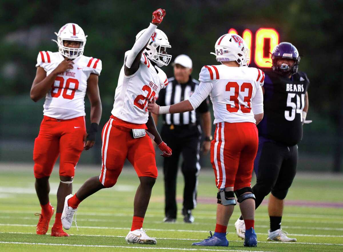 Oak Ridge middle linebacker Jaylen Jackson (28) reacts after a tackle during the first quarter of a non-district high school football game, Thursday, Sept. 23, 2021, in Montgomery.