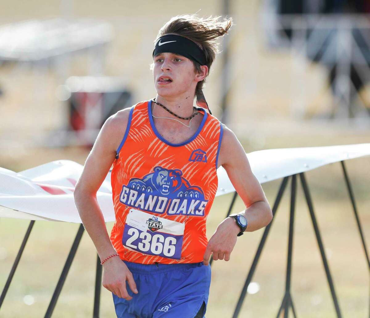 Hayden Eubank of Grand Oaks competes in the Class 6A race during the UIL State Cross Country Championships at Old Settlers Park, Tuesday, Nov. 24, 2020, in Round Rock.