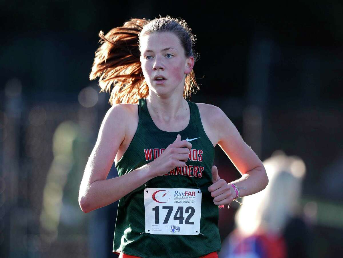 The Woodlands' Natasja Beijen finished first overall in the District 13-6A high school cross country championship at College Park High School, Thursday, Oct. 29, 2020, in The Woodlands.