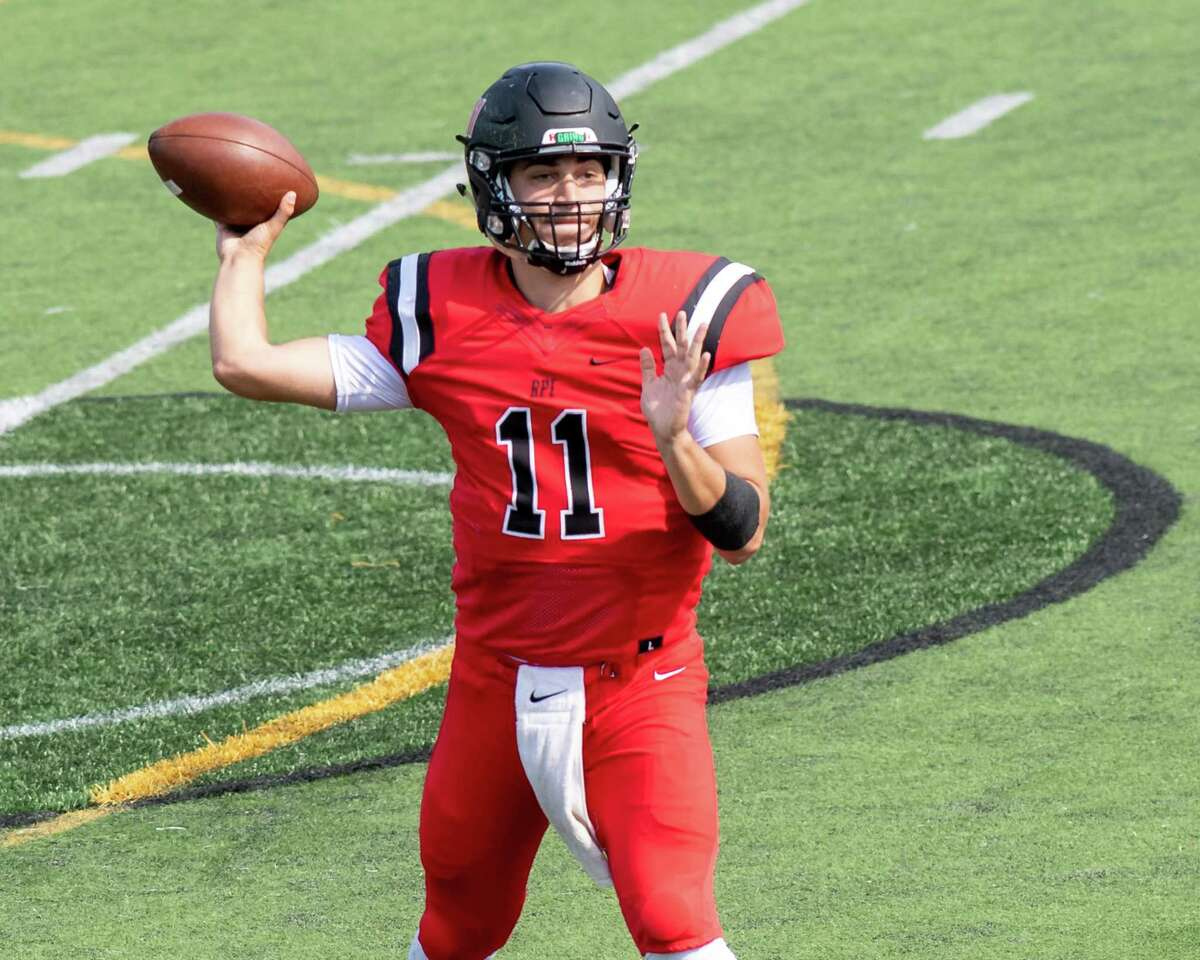 RPI quarterback George Marinopoulos looks for a receiver during a game against the University of Rochester at East Campus Stadium on the RPI campus in Troy, NY, on Saturday, Oct. 2, 2021. (Jim Franco/Special to the Times Union)