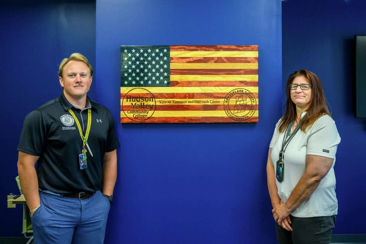 Christina Holst and Dan Wargo stand ready to help veteran settle in at Hudson Valley Community College in Troy and help all veterans with benefit, PTSD and other issues.