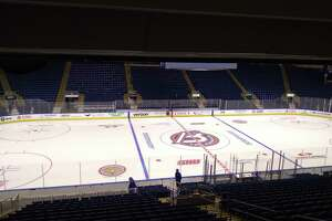 Center ice at Webster Bank Arena in Bridgeport shows the new Bridgeport Islanders logo before their parent club, the New York Islanders, meet the New Jersey Devils in an NHL exhibition game on Saturday.