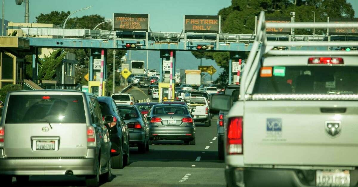 Vehicles on the Richmond/San Rafael Bridge freeway.