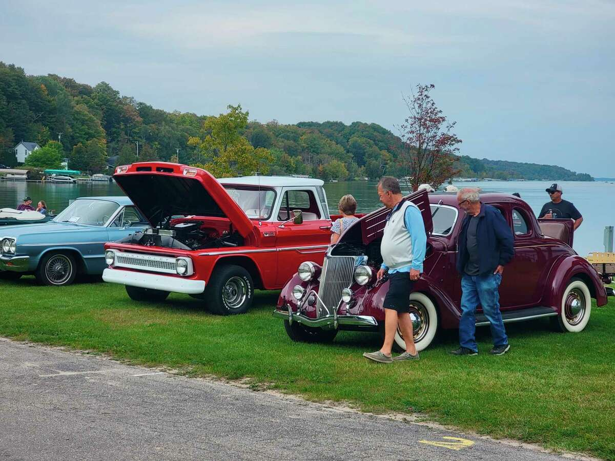 The Park and Shine car show on the shores of Crystal Lake was one of the activities at Beulah's weekend of Benzie County Fall Fest. (Colin Merry/Record Patriot)