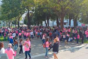 Women and supporters gather Saturday, Oct. 2, 2021 during the Women's March and Rally for Reproductive Rights in Albany.