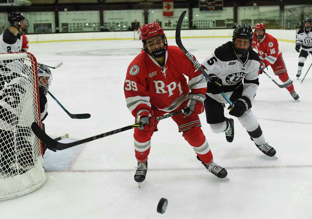 RPI's Jakub Lacka, shown in an exhibition game against Union, had a goal in the Engineers' tie against Bowling Green on Friday, Oct. 8, 2021.