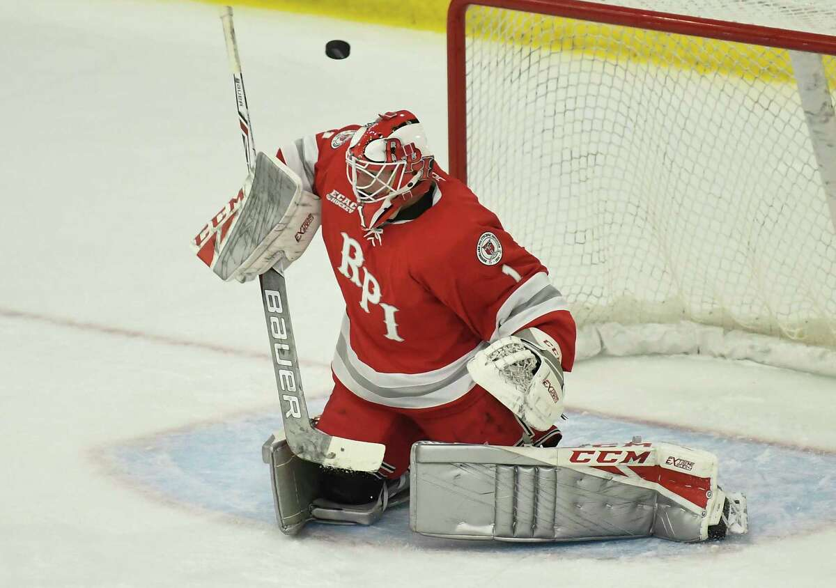 RPI goalie and co-captain Linden Marshall deflects a shot in an exhibition game against Union last week. Marshall is looking forward to his opportunity to start this season.