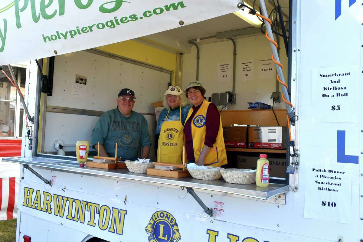 The Harwinton Lions Club sells pierogis from its booth at the Harwinton Fair Oct. 2, 2021.