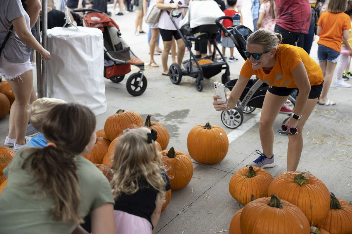 A parent takes a photo of their children as they pose amongst pumpkins during the Creekside Park West Fall Festival, Saturday, Oct. 2, 2021, in The Woodlands. Featured activities included face painting, balloon animals and a pumpkin patch.