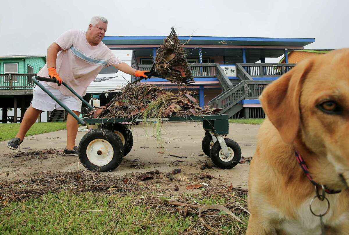 """Joe Zanone cleans up debris in his yard with his dog, Larry, following Hurricane Nicholas in Sargent on Tuesday, Sept. 14, 2021. Zanone waited out the storm in his home. """"All you could see was sheets of rain,"""" he said. The eye of Hurricane Nicholas went over Sargent early Tuesday morning."""