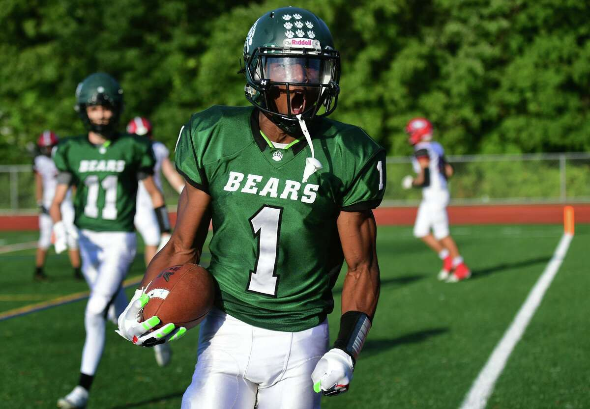 Bears RB #1 Cam Edwards runs the ball as The Norwalk High School Bears take on the Cheshire High School Rams during their CIAC football game Saturday, October 2, 2021, at Testa field in Norwalk, Conn.