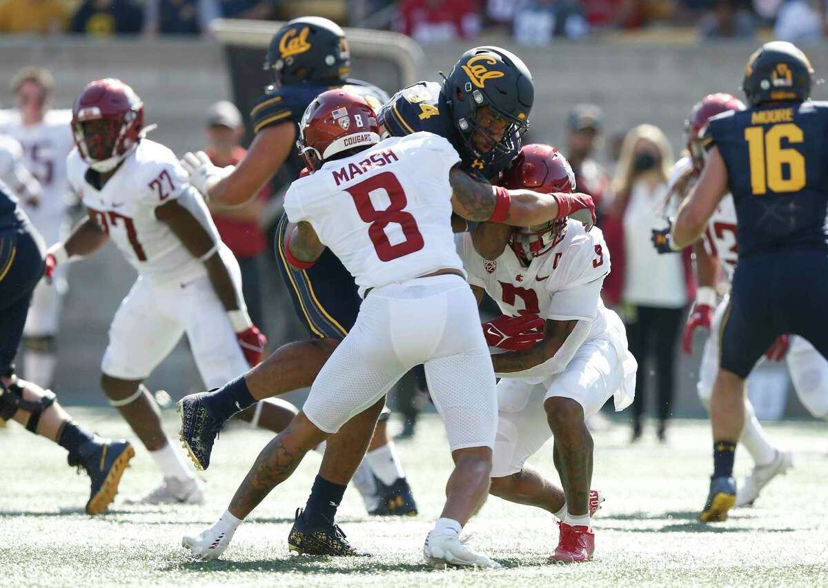 California Golden Bears running back Christopher Brooks (34) runs the ball in for a touchdown in the first half against the Washington State Cougars during an NCAA football game on Saturday, Oct. 2, 2021 in Berkeley, Calif. (AP Photo/Lachlan Cunningham)