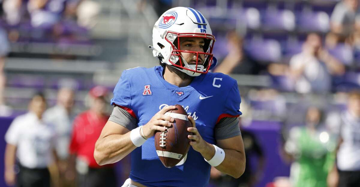 SMU quarterback Tanner Mordecai (8) prepares to throw against TCU during the first half of an NCAA college football game in Fort Worth,Texas, Saturday, Sept. 25, 2021. (AP Photo/Michael Ainsworth)