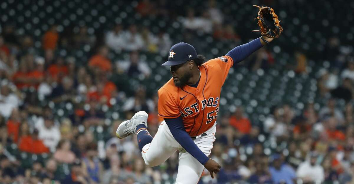Houston Astros relief pitcher Cristian Javier (53) pitches against Arizona Diamondbacks Christian Walker during the fifth inning of an MLB baseball game at Minute Maid Park, Friday, September 17, 2021, in Houston.